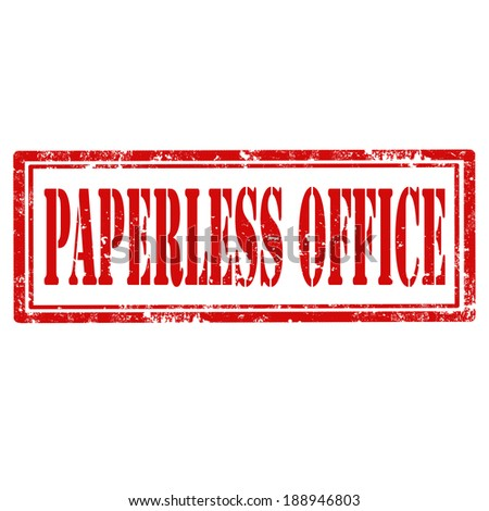 Grunge rubber stamp with text Paperless Office,vector illustration - stock vector