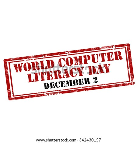 Grunge rubber stamp with text World Computer Literacy Day,vector illustration - stock vector