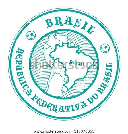Grunge rubber stamp with the name and map of Brazil, vector illustration - stock vector