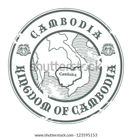 Grunge rubber stamp with the name and map of Cambodia, vector illustration - stock vector