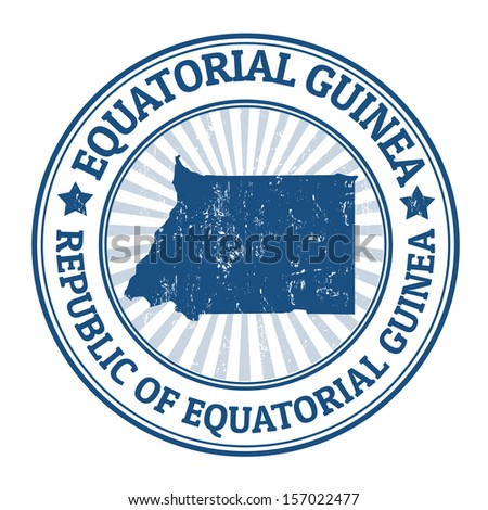 Grunge rubber stamp with the name and map of Equatorial Guinea, vector illustration - stock vector