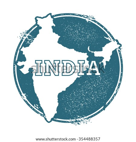 Grunge rubber stamp with the name and map of India, vector illustration. Can be used as insignia, logotype, label or badge vector design element. - stock vector