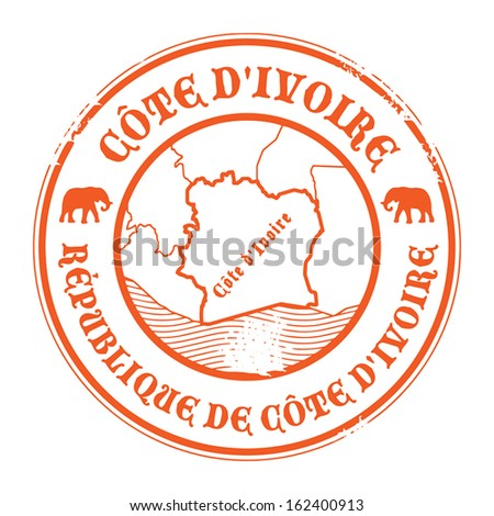 Grunge rubber stamp with the name and map of Ivory Coast, vector illustration - stock vector