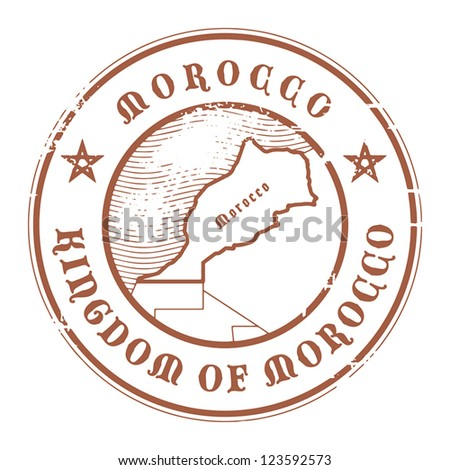 Grunge rubber stamp with the name and map of Morocco, vector illustration - stock vector