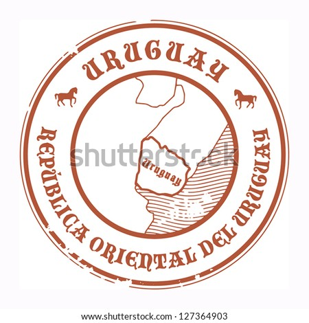 Grunge rubber stamp with the name and map of Uruguay, vector illustration - stock vector