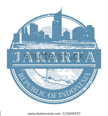 Grunge rubber stamp with the name of Jakarta, Indonesia written inside the stamp, vector illustration - stock vector