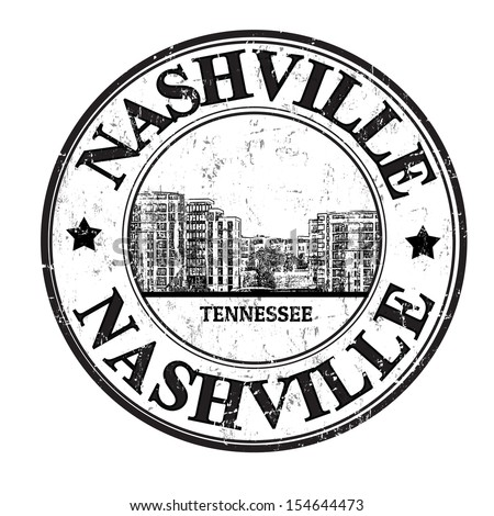 Grunge rubber stamp with the name of Nashville city from the state of Tennessee written inside - stock vector