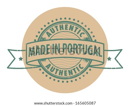 Grunge rubber stamp with the text Authentic, Made in Portugal written inside the stamp, vector illustration - stock vector