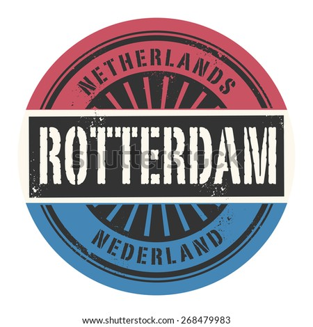 Grunge rubber stamp with the text Netherlands, Rotterdam, vector illustration - stock vector