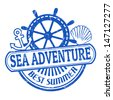 Grunge rubber stamp with the text Sea Adventure written inside, vector illustration - stock vector