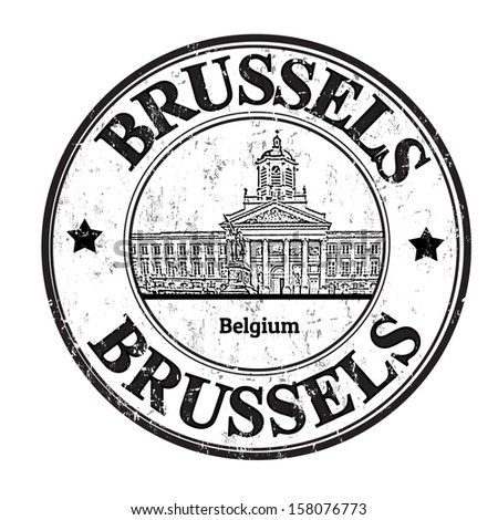 Grunge rubber stamp with the word Brussels, Belgium inside, vector illustration - stock vector