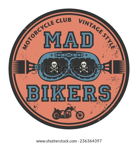 Grunge rubber stamp with the words Mad Bikers inside, vector illustration - stock vector