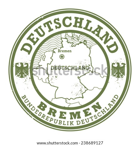 Grunge rubber stamp with words Deutschland, Bremen inside, vector illustration - stock vector
