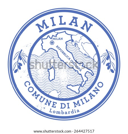 Grunge rubber stamp with words Milan, Italy inside, vector illustration - stock vector