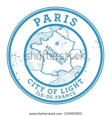 Grunge rubber stamp with words Paris, France inside, vector illustration - stock vector