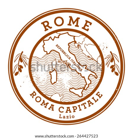 Grunge rubber stamp with words Rome, Italy inside, vector illustration - stock vector