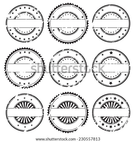 Grunge rubber stamps and decorative stickers icons, set, graphic design elements, black isolated on white background, vector illustration. - stock vector
