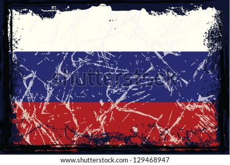 Grunge Russia flag. - stock vector