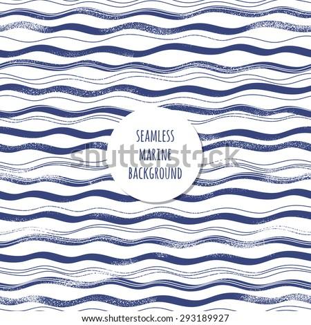 Grunge sea waves pattern. Retro marine background - stock vector