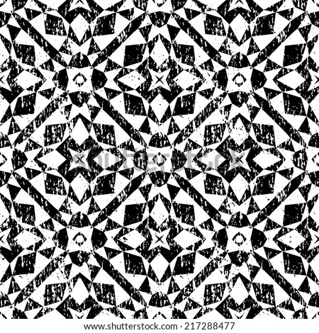 Grunge seamless geometric pattern in modern hipster style with small triangles and abstract stars in black and white. Vector background with used old scratched texture. - stock vector