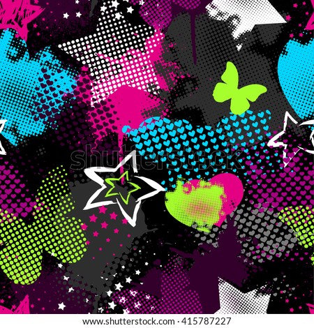 Grunge Seamless pattern for girls. Hearts abstract background dots. Beautiful creative wallpaper.Seamless pattern with hearts, stars, spray elements and butterflies. - stock vector