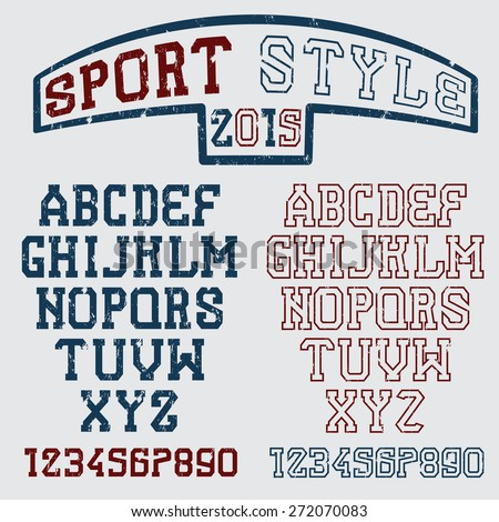 grunge serif font in the retro style of sport - stock vector