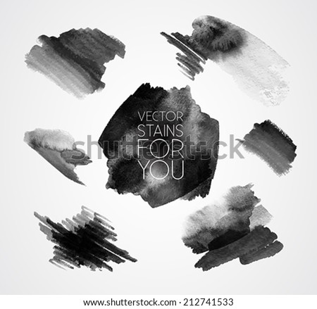 grunge set of paint stains - text grungy decoration effects - vector - stock vector