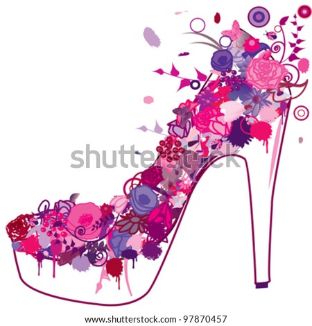 grunge shoe over white background - stock vector