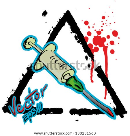 grunge sign syringes hand drawn tattoo style - stock vector