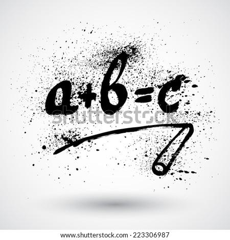 Grunge simple math formula icon - stock vector