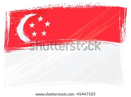 Grunge Singapore flag - stock vector