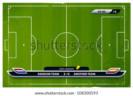 Grunge soccer playing field with statistics elements. Vector illustration. - stock vector