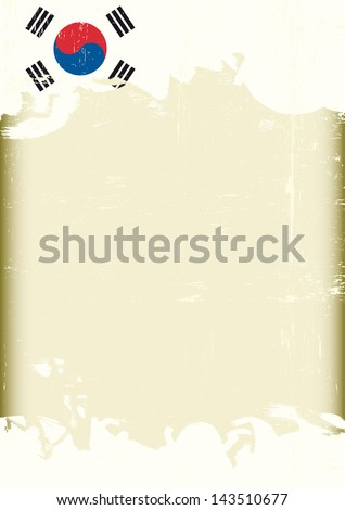 Grunge South Korean flag. A poster with a large scratched frame and a grunge South Korean flag for your publicity. - stock vector