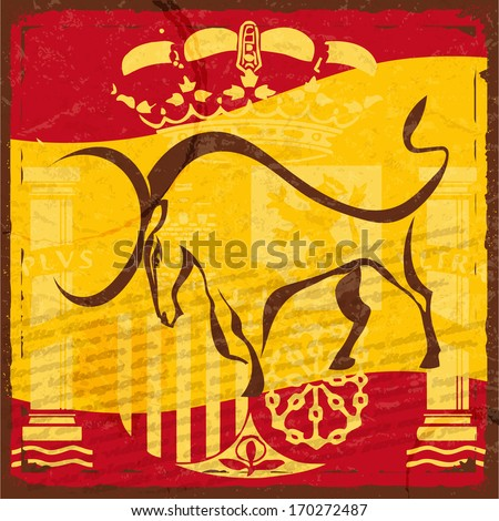 Grunge Spanish flag with the emblem and the silhouette of a black bull - stock vector
