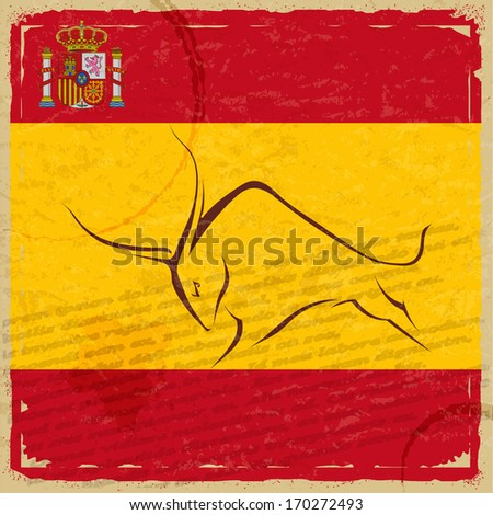 Grunge Spanish flag with the emblem and the silhouette of a bull - stock vector