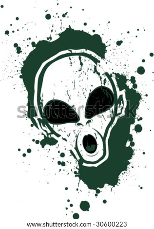 Grunge splatter alien head - stock vector