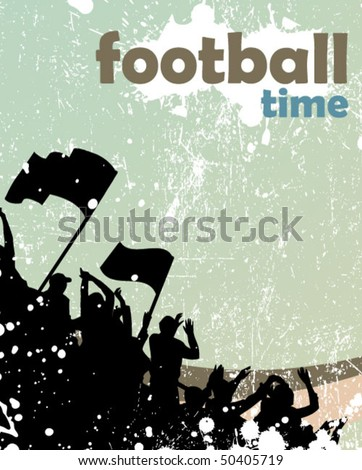 grunge sports crowd poster - stock vector
