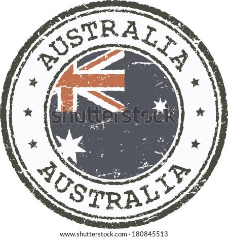Grunge stamp-Australian flag - stock vector
