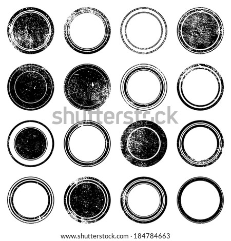 Grunge stamp mockups set of distressed overlay circle mark texture for your design. EPS10 vector. - stock vector
