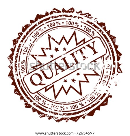 Grunge stamp 100% quality, element for design, vector illustration - stock vector