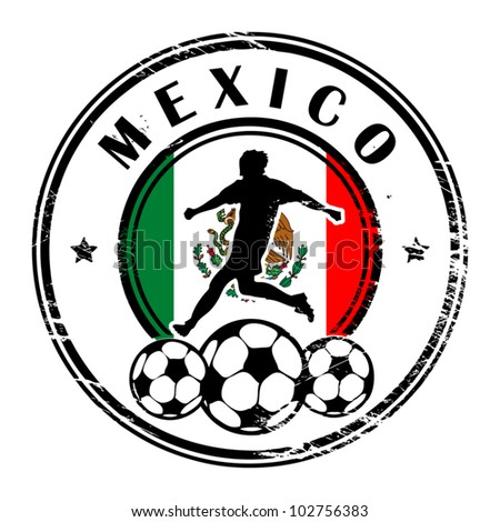 Grunge stamp with football and name Mexico, vector illustration - stock vector