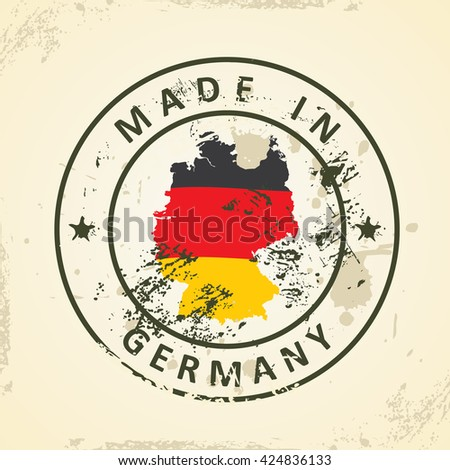 Grunge stamp with map flag of Germany - vector illustration - stock vector