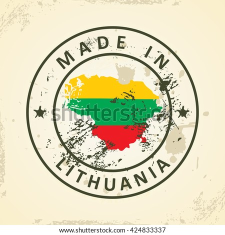 Grunge stamp with map flag of Lithuania - vector illustration - stock vector