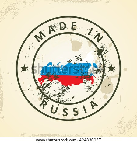 Grunge stamp with map flag of Russia - vector illustration - stock vector