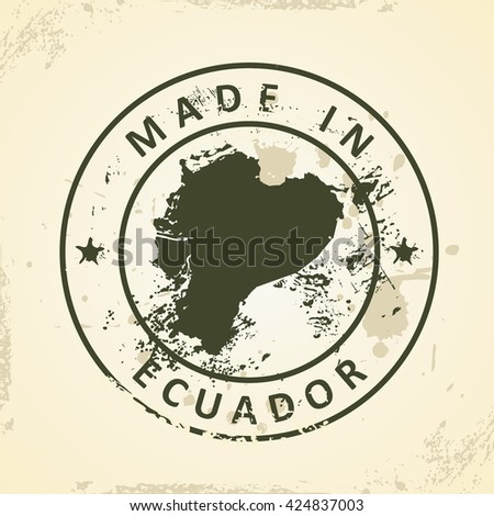 Grunge stamp with map of Ecuador - vector illustration - stock vector