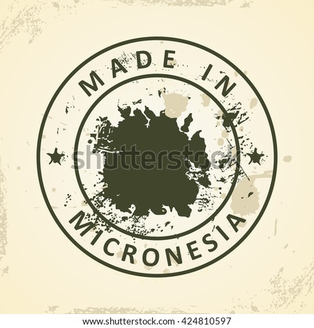 Grunge stamp with map of Micronesia - vector illustration - stock vector