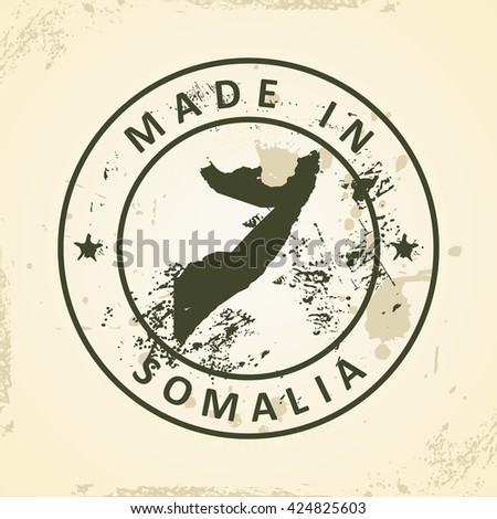 Grunge stamp with map of Somalia - vector illustration - stock vector