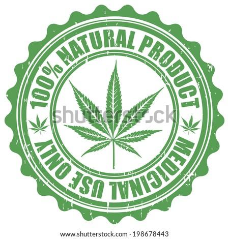 Grunge stamp with marijuana leaf emblem. Cannabis leaf silhouette symbol. Vector illustration - stock vector