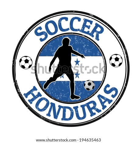 Grunge stamp with soccer player and name Honduras written inside, vector illustration - stock vector