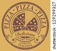 Grunge stamp with text Pizza - Delicious written inside, vector illustration - stock vector